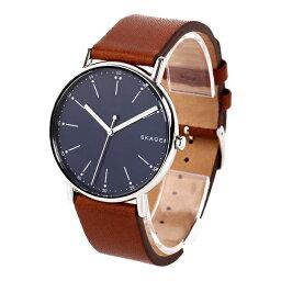 スカーゲン 腕時計(メンズ) 新作 スカーゲン 時計 メンズ 腕時計 シグネチャー ブラウン 青い文字盤 レザー SKW6355 ビジネス 男性 ブランド おしゃれな北欧 デザイン 時計 誕生日 お祝い プレゼント ギフト