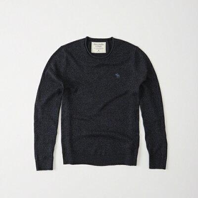 【新品】アバクロ【Mensメンズ】コットンクルーネックセーター/Navy【Crew Neck Icon Sweater】【Abercrombie&Fitch】【本物保証】