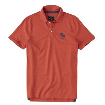 【新品】アバクロ【Mensメンズ】Big Moose刺繍ストレッチポロシャツ(半袖)/Red【Stretch Icon Polo】【Abercrombie&Fitch】【本物保証】