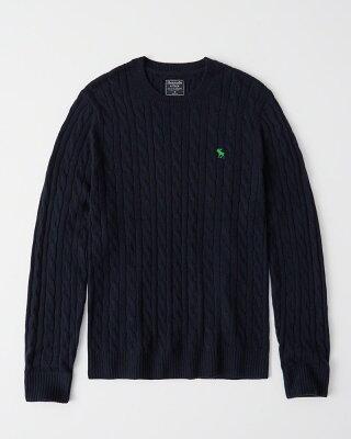 【新品】アバクロ【Mensメンズ】ムース刺繍ケーブルニット/Navy Blue【Icon Cable Knit Sweater】【Abercrombie&Fitch】【本物保証】