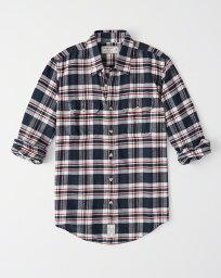 アバクロンビー&フィッチ Abercrombie&Fitch (アバクロンビー&フィッチ) フランネル チェックシャツ (ネルシャツ)(Flannel Shirt) メンズ (Navy Blue Plaid) 新品