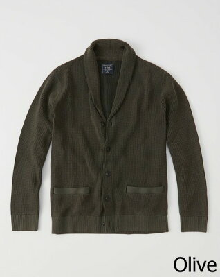 ◆【新品】アバクロ【Mensメンズ】ショールカラーカーディガン/Olive【Garment Dye Cardigan】【Abercrombie&Fitch】【本物保証】