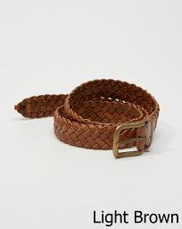 アバクロ ベルト(レディース) 【新品】アバクロ【Mensメンズ】1 1/4インチ 編み上げレザーベルト/Light Brown【Braided Leather Belt】【Abercrombie&Fitch】【本物保証】