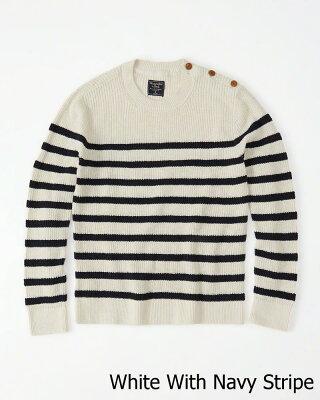 【新品】アバクロ【Mensメンズ】ストライプ クルーネックニット/White With Navy Stripe【Striped Crew Sweater】【Abercrombie&Fitch】【本物保証】