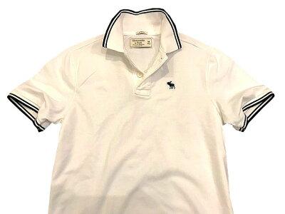 ◆【新品】アバクロ【Mensメンズ】ライン入り鹿子ストレッチポロシャツ(半袖)/White【Strech Icon Polo】【Abercrombie&Fitch】【本物保証】