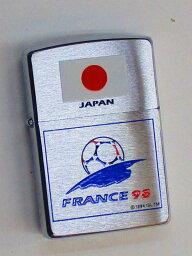欧州 サッカー Zippo サッカーワールドカップ フランス大会記念 日本 ブラッシュZippo 1997年7月製未使用 (Z-1057)