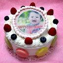 オリジナル写真のデコレーションケーキ 写真ケーキ バースデーケーキ お誕生日 パーティー 記念日 サプライズ (丸)5号 生クリーム