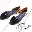 ジェフリーキャンベル 【 セール sale 】 JEFFREY CAMPBELL 2183 靴 ジェフリーキャンベル ブラック パテント ゴールド フラット サンダル レディース シューズ