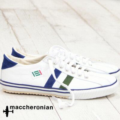 【あす楽】 【 期間限定特別価格 】 maccheronian 靴 WHITE/OLIVE/DARK NAVY マカロニアン 2215 スニーカー メンズ レディース sneaker レザー