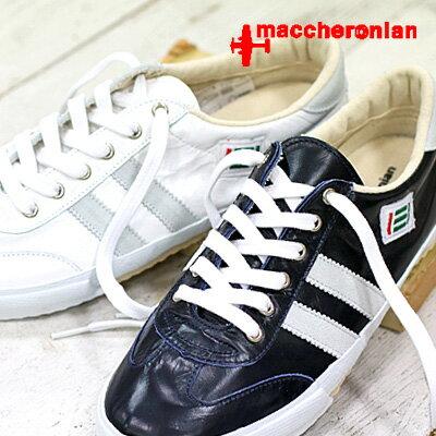 【あす楽】 【 期間限定特別価格 】 maccheronian 靴 WHITE/GRAY NAVY/WHITE マカロニアン 2039L-BJ1 スニーカー メンズ レディース sneaker レザー