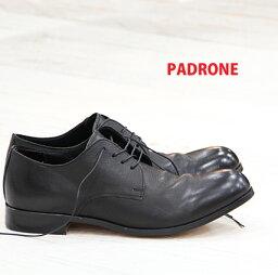 パドローネ 2/4再入荷 【 ポイント10倍 】【 ケア品のオマケ付 】 【 正規取扱店 】 PADRONE 靴 DERBY PLAIN TOE SHOES JACK PU7358-2001-11C ブラック パドローネ メンズ