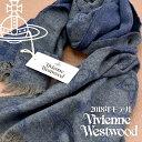 ヴィヴィアンウエストウッド マフラー(レディース) 【送料無料】Vivienne Westwood ヴィヴィアンウエストウッド ヴィヴィアン コレクション マフラー レディース オーブ柄 ストール グレー×ブルー VV18-CO-P201-GREY