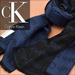 カルバンクライン 【送料無料】Calvin Klein カルバン クライン メンズマフラー ロゴ柄 ネイビー HKC73660-NV