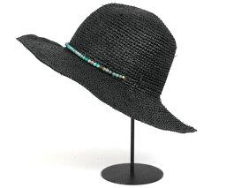 ハットアタック HAT ATTACK(ハットアタック) ラフィア クロシェット ラウンドクラウン ブラック UVカット帽子 RAFFIA CROCHET ROUND CROWN HAT 紫外線 UV対策 #WN [OSALE]【返品・交換対象外】