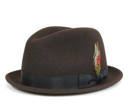 ニューヨークハット ニューヨークハット(NEW YORK HAT)フェドラハット ピンチド スティンジー ブラウン 帽子 FEDORA HAT PINCHED STINGY BROWN 【UN-】