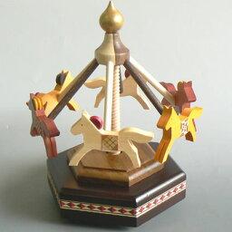 ピンクのメリーゴーランドオルゴール 夢の木工房 木製メリーゴーランドオルゴール (大/茶色 ♪スモールワールド) プレゼント