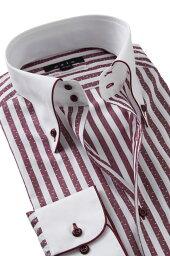 ドゥエボットーニ ドレスシャツ 長袖 ワイシャツ ドゥエボットーニ ボタンダウンシャツ クレリックシャツ メンズ Yシャツ ビジネス ワインレッド 赤| シャツ おしゃれ ノーネクタイ 綿100% カッターシャツ ビジネスシャツ ストライプ ボタンダウン 高級 メンズドレスシャツ ストライプシャツ