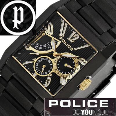 【5年保証対象】ポリス 腕時計 POLICE 腕時計 ポリス 時計 POLICE 時計 ポリス腕時計 POLICE腕時計 ポリス時計 POLICE時計 キングス アベニュー KING'S AVENUE メンズ ブラック 13789MSB-02MA メタルベルト ゴールド 黒 金 送料無料