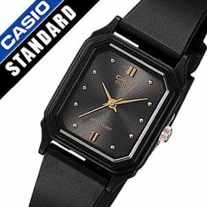 カシオ腕時計 CASIO時計 CASIO 腕時計 カシオ 時計 スタンダード ベーシック STANDARD BASIC ANALOGUE レディース ブラック LQ-142E-1A アナログ 海外モデル クラシック シンプル スクエア オールブラック ゴールド 黒 金 3針