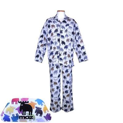 【MOZ】モズブランド・メンズパジャマ/天竺ニット・総柄・長袖・テーラー衿・紳士パジャマ
