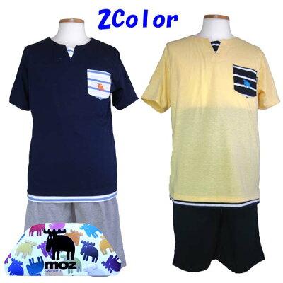 【MOZ】ブランド・カジュアル・メンズパジャマ/モズブランド・天竺ニット・半袖・半パンツ・紳士パジャマ