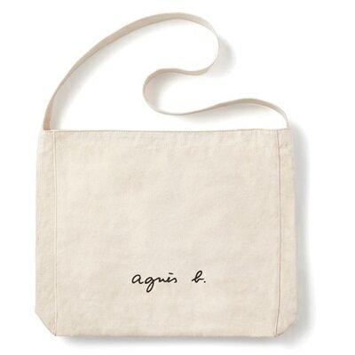 アニエスべー バッグ ショルダーバッグ ロゴ アイボリー agnes b