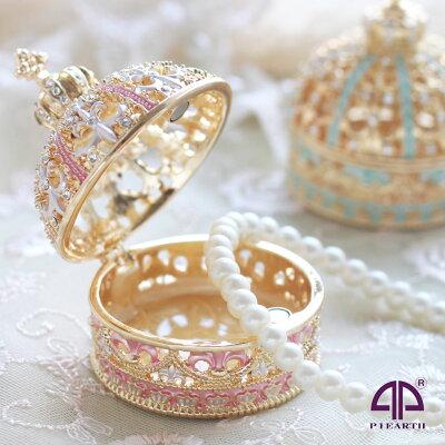 <ミニチュアクラウン(ゴールド) ジュエリーボックス>ピィアース人気の宝石箱がミニチュアサイズに 王冠 置物 クリスタル アクセサリーケース ジュエリーケース ギフト 誕生日プレゼント 女性 ピックアップ クリスマス