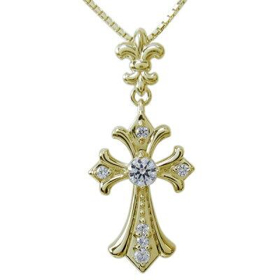 メンズ ネックレス クロス 十字架 ペンダント ダイヤモンド K10