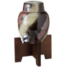 美濃焼焼酎サーバー 焼酎サーバー 黒伊賀ラジウム 2000cc 美濃焼 コルク栓・木台付 オシャレ ラジウムイオン効果