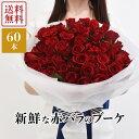 60本の赤いバラ 【あす楽】 花 花束 国産赤バラ60本 ラウンドブーケ 赤薔薇 ローズ 生花 ギフト プレゼント 女性 還暦祝い プロポーズ 誕生日 記念日 御祝 母の日 結婚記念日 発表会 送別会 送料無料 ROR60