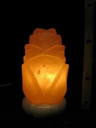 天然岩塩ランプ 岩塩ランプ【ソルトランプ】ローズ(ばら)118 (ヒマラヤ岩塩ランプ 台座:天然石オニキス)