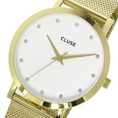クルース CLUSE ラ・ボエーム メッシュベルト 38mm レディース 腕時計 時計 CL18302 ホワイト/ゴールド【ポイント10倍】