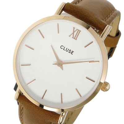 クルース CLUSE ミニュイ レザーベルト 33mm レディース 腕時計 時計 CL30021 ホワイト/キャラメル【ポイント10倍】