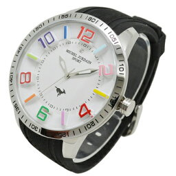 ミッシェルジョルダン michel Jurdain SPORT (ミッシェル・ジョルダンスポーツ) 腕時計 1Pダイヤモンド シリコンウォッチ メンズウォッチ メンズ腕時計 MJ-7700-4 ブラック×ホワイト【送料無料】
