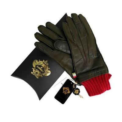 e1ac4ef500b787 OROBIANCO オロビアンコ メンズ手袋 ORM-1405 Leather glove 羊革 ウール KHAKI サイズ:8.5