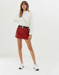 リバーアイランド リバーアイランド レディース スカート ボトムス River Island denim mini skirt in red tiger print Multi