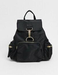 エイソス エイソス レディース バックパック・リュックサック バッグ ASOS DESIGN backpack with dog clip detail in black Black