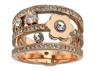 マイケルコース レディース リング アクセサリー In Full Bloom Floral and Crystal Accent Stacked Ring Rose Gold