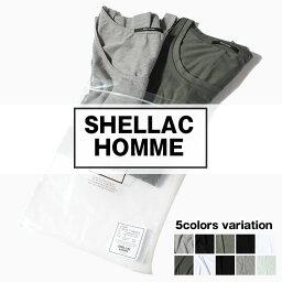 シェラック メンズTシャツ タンクトップ 2枚入りセット SHELLAC HOMME シェラック オム パックT 無地Tシャツ XLサイズ ホワイト ブラック アンサンブル メンズ 「SS」