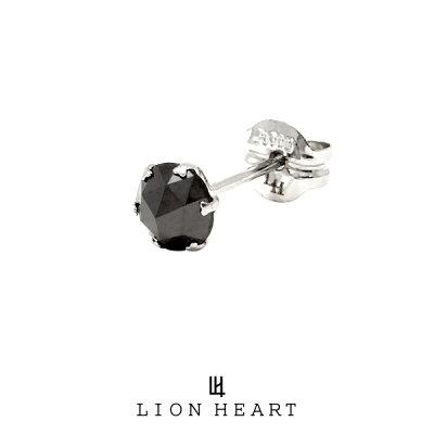 ライオンハート PROGRESSO プラチナ ブラックダイヤモンドピアス/Mサイズ 04E12PS/M LION HEART ピアス 1点売り 片耳用 メンズ (LH)