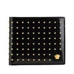 ヴェルサーチ ヴェルサーチ Gianni Versace 二つ折り財布 札入れ メンズ ドット スタッズ アウトレット dpu2463dviscsd41hs | ウォレット サイフ さいふ 財布 コンパクト かっこいい オシャレ おしゃれ ブランド 本革 プレゼント ギフト