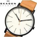 スカーゲン 腕時計(メンズ) 【10%offクーポン配布中】【スプリングクリアランス】スカーゲン SKAGEN時計 腕時計 メンズレザー ブラウン ホワイト SKW6352【ID】【G2】 白い腕時計 プレゼント