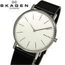 スカーゲン 腕時計(メンズ) 【レビューを書いて5年保証】スカーゲン SKAGEN SKW6419時計 腕時計 メンズブラック ホワイト レザー【ID】 白い腕時計 クリスマス プレゼント