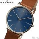 スカーゲン 腕時計(メンズ) 【レビューを書いて5年保証】スカーゲン SKAGEN SKW6446 ハーゲン時計 腕時計 メンズ ブルー ブラウン レザー 青い腕時計 プレゼント