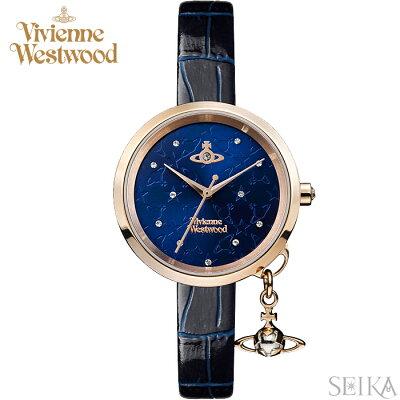 (ショップ袋プレゼント)ヴィヴィアンウエストウッド Vivienne Westwood VV139NVNV時計 腕時計 レディース ネイビー レザー 青い腕時計(ty04)