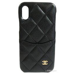 シャネル スマホケース ≪新品≫ CHANEL シャネル クラッシックケース 携帯ケース iphone10 X XS A83565 キャビアスキン 黒 ブラック×ゴールド金具 スマホケース マトラッセ 箱 リボン ラッピング