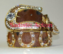 B.B. 【即納】b.b.simon GOLD/BROWNハラコホースシューBELT BR 【b.b.simon】【BB-8042-S91-18-27-GL】