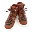 ルイヴィトン LOUIS VUITTON ルイヴィトン ハイカットスニーカー ブラウン レザー×キャンバス 表記サイズ:6 【shoes】【メンズ】.【z80519*hmu5n】
