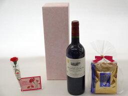 金賞ワインのギフト 母の日 ギフトセット ワインセット 挽き立て珈琲(ドリップパック5パック)(金賞ワイン 赤ワイン 750ml)母の日カード お母さんありがとうカーネイション