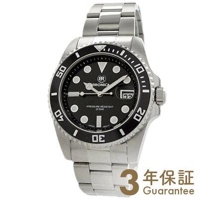 【300円割引クーポン】ブロニカ BRONICA 腕時計本舗限定 ダイバーズウォッチ ブラック×シルバー BR-818-BK メンズ【あす楽】